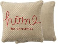 """HOME FOR CHRISTMAS Embroidered Throw Pillow, 10"""" x 10"""", Primitives by Kathy"""
