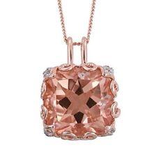 GALILEIA BLUSH PINK QUARTZ DIAMOND PENDANT WITH CHAIN IN ROSE GOLD OVERLAY