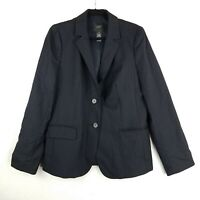 J. CREW Super 120's Lined Wool Navy Blue Pinstriped Blazer Jacket Womens 12