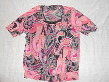 Women's Apt.9 Pink Black Paisley Short Sleeved DUO Top Size Small