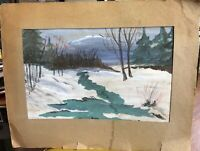 Vintage Painting Watercolor large Winter Brook Stream Forest Scene Snow