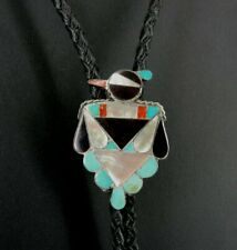 Bolo Tie Silver Thunderbird Multi Color Stones Onyx Vintage Sterling 925 Slide
