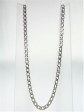 9K WHITE GOLD DOUBLE LONG CURB, DIAMOND CUT 45CM 3.74G