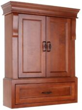 Naples Bathroom Storage Wall Cabinet 26-3/4 in. Wide Warm Cinnamon Secure Mount