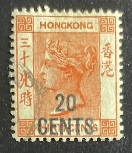 HONG KONG 1885 SC51 QV 20c Surcharge on 30c Vermillion Used