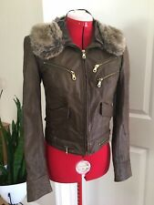 Truth + Pride Brown 100% Leather Bomber Jacket Coat Faux Fur Collar Small Zip