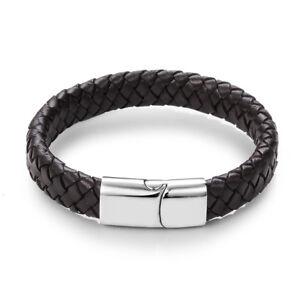 Mens Brown Leather Bracelet FREE Engraving Personalised Jewellery Birthday Gifts