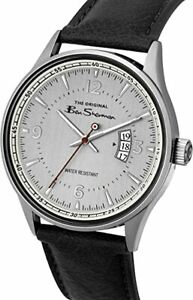 NEW MENS BEN SHERMAN WATCH SILVER DIAL DATE WINDOW BROWN LEATHER STRAP