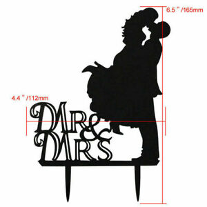 MR and MRS Silhouette Black Wedding Cake Topper Laser Cut Bride and Groom