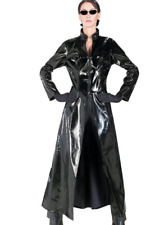 Chic Women Sexy Outwear Faux Leather PU Maxi Parka Punk Trench Shiny Jacket Coat