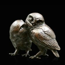 Pair of Little Owls Solid Bronze Foundry Cast Sculpture by Michael Simpson [949]