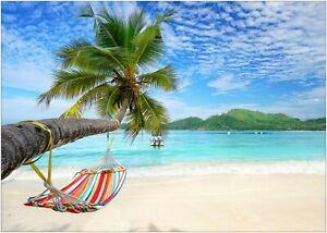 Tropical Beach Paradise Hammock Palm Sea Poster Art Print A0 A1 A2 A3 A4 Maxi