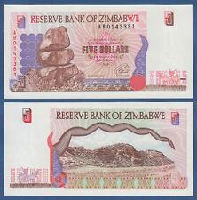 ZIMBABWE 5 Dollars 1997 REPLACEMENT AB  aUNC P. 5 r