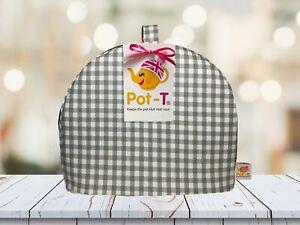 Pot-T INSULATED Tea Cosy Cozy in Gingham Prints Grey Gingham in Standard size