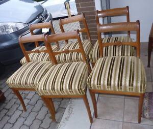 Biedermeier - Stühle - 6 Stück -- Esche - grün-weiss  gepolstert