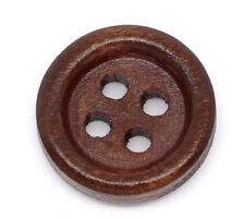 10 Botones 4 agujero redondo de madera oscura 15mm costura, botón de arte, manualidades, Libre P&P