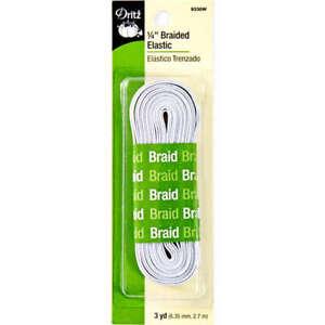 """Dritz 9330W White Braided Craft Elastic 1/4"""" x 3-yard"""