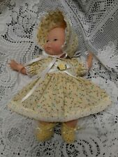"""Doll Clothes Dress and Booties Set  10"""" Newborn Thumbelina """"Yellow"""" by Maureen"""