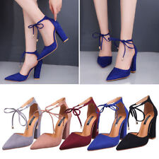 Ladies Women Pointed Toe High Heel Strappy Ankle Sexy Thick Block Heel Shoes ZYL