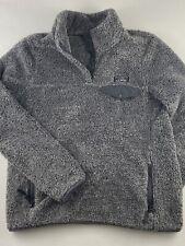 LL BEAN Womens Grey Osito Furry Fleece 1/4 Snap Pullover Sweatshirt Medium