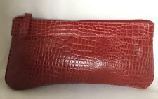 Large MANZONI Padded Red Leather Zipped Pouch/Clutch Bag / Handbag