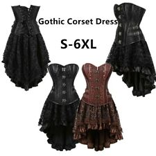 Women Gothic Corset Dress Steampunk Corsets Bustiers Top With High Low Skirt Set