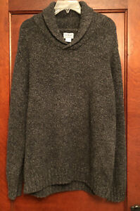 LL BEAN 100% LAMBSWOOL SHAWL COLLAR SWEATER ELBOW PATCH VINTAGE GRAY SZ LARGE