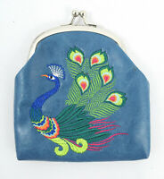 Lavishy Divine Peacock Peacock Feather Embroidery Kiss lock Coin Purse