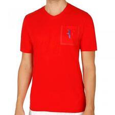 Nike Roger Federer Stealth Pocket Tee, per adulti XL in rosso con vari loghi RF