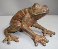 Statua Rana Natura Stile Art Deco Stile Art Nouveau Bronzo massiccio Firmato