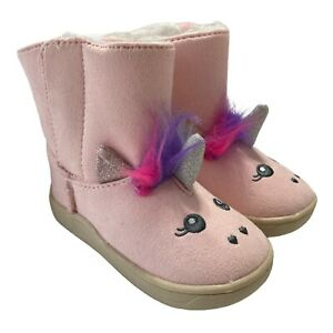 NEW Toddler Kids Unicorn Boots Sz 6  Booties Faux Suede Sherpa Faux Fur Lined