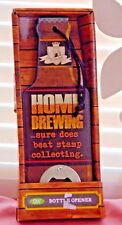"BW Bottle Opener, Bottle Shape, Wood Metal ""Home Brewing Slogan, NIB"