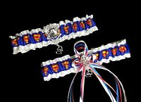 Sexy SUPERMAN Satin Grosgrain Wedding GARTER SET Bridal PROM Hearts Rhinestones