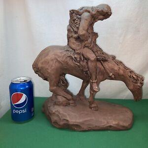 Vtg Chalkware TRAILS END Ceramic ART Brown Horse Native American Indian statute