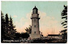 Portland Maine Scene at the Two Lights Vintage Postcard H.C. Leighton 3495
