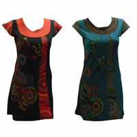 WOMENS LADIES COTTON PAISLEY TUNIC BOHO PATCHWORK EMBROIDERED DRESS S/M L/XL