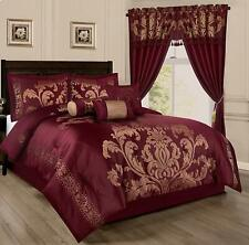 Luxurious 7 Piece Comforter Set Bedding Bed in a Bag Black/Gold/maroon- all size