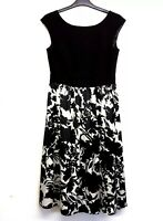 Ariella Dress Fit and Flare UK 10 Black and White Floral Lined Lana Marie