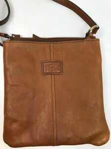 "Fossil Small Crossbody Satchel Bag Brown Tan Stamped Floral Leather Purse 8""x8"""
