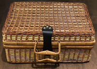 Wicker Suitcase Picnic Basket Large 18 X  12 X 8 Boho Storage Luggage Decor