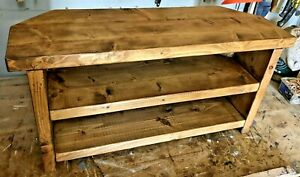 Handmade solid wood corner tv stand - rustic