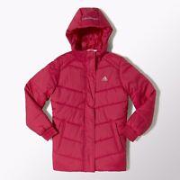 Adidas Girls Padded Jacket Juinor Youth Hooded Jacket Coat - Pink