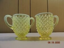 Fenton topaz opalescent hobnail cream and sugar in mint condition
