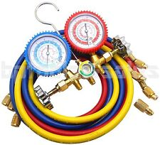 R134a R22 R12 R502 Manifold Gauge Set HVAC AC Refrigeration Test 5' Charge Hoses