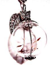 DANDELION SEED WISHING JAR NECKLACE glass orb bottle vial pendant wish flower E3