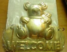 SOLID BRASS PLAQUES WELCOME Sign, Teddy Bear, door, Home, House
