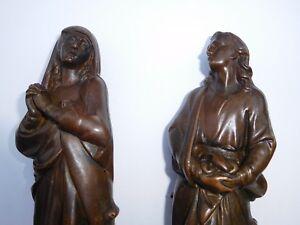 Early 1800s Bronze Copper Madonna Virgin Mary Sorrow Saint John Sculpture Cast