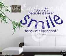 Vinyl wall art DON'T CRY, SMILE decal Dr Seuss quote
