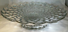 "FOSTORIA AMERICAN CRYSTAL 16"" DIAMETER FOOTED FRUIT BOWL STAND  or SALVER!"