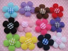 """120 Felt  1"""" Flower Gingham Center-12 Colors AF081"""